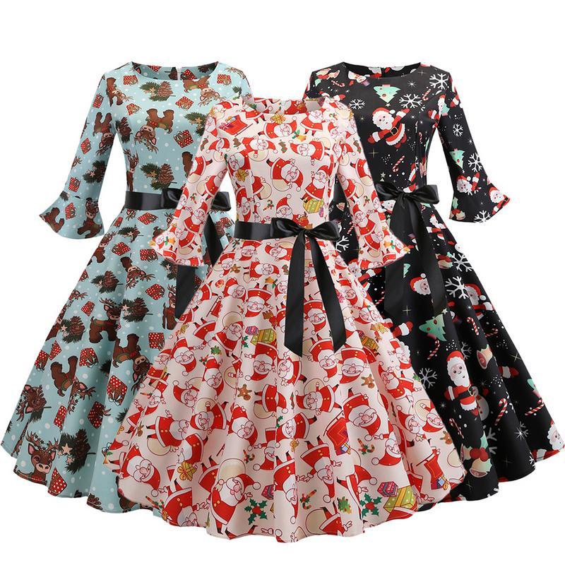 c3498d4c36000 Xmas Winter Christmas Dresses Women 50S 60S Vintage Robe Femme Swing Pinup  Elegant Party Dress Fall Casual Plus Size Print Cute