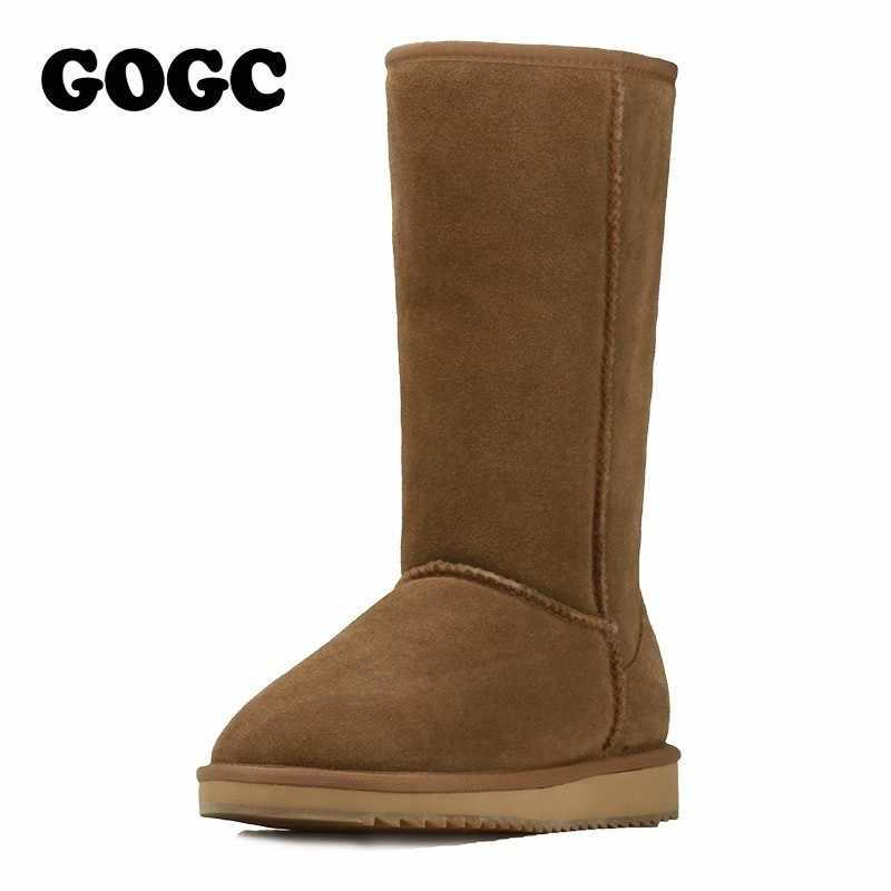 GOGC % 2018 Yün kadın Kış Ayakkabı Sıcak bayan Botları Kadın Ayakkabı Hakiki Deri Kış çizmeler Kürk 9719
