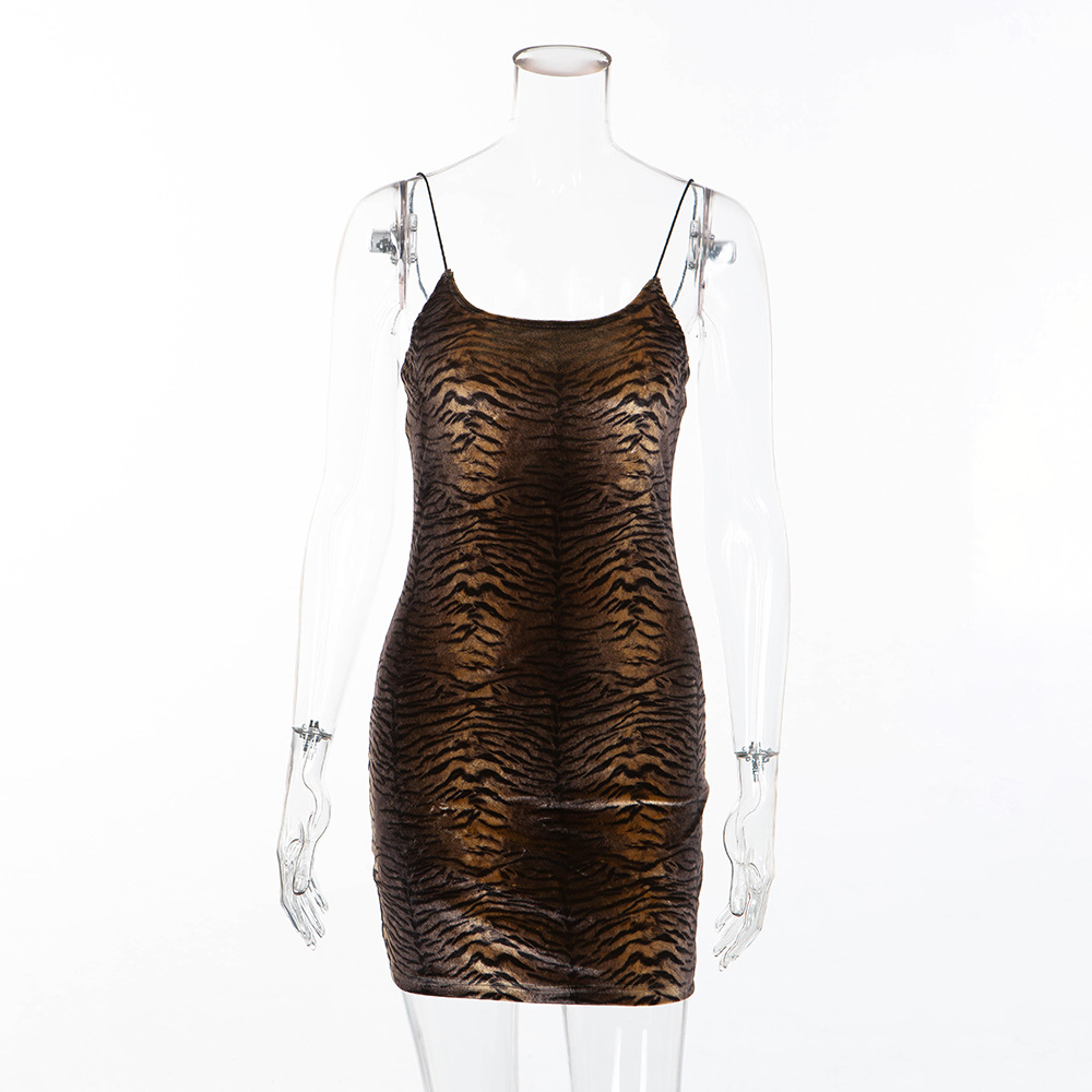 3ce0783c0d BOOFEENAA Velvet Tiger Animal Print Sexy Dress Women Party Night Club Wear  Spaghetti Strap Backless Mini Bodycon Dresses C55AZ52-in Dresses from  Women s ...