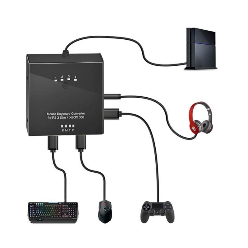 VKTECH jeu souris clavier convertisseur adaptateur pour PS4/PS4 Pro/PS4 Slim/PS3/Xbox One/S/Xbox 360 commutateur contrôleur de jeu adaptateur