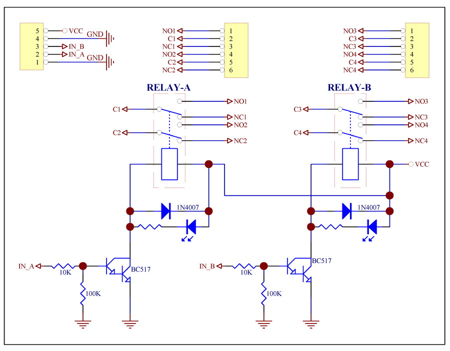 two dpdt signal relays module board 5v for 8051 pic in electronics rh aliexpress com Schematic Circuit Diagram Simple Circuit Diagrams