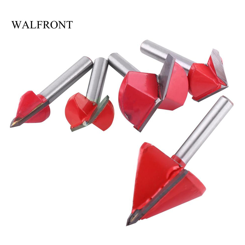 WALFRONT V Groove Router Bits CNC Engraving Milling Cutter 60-120 Degree Woodworking Carving Knife Tungsten Carbide Cutting Tool(China)