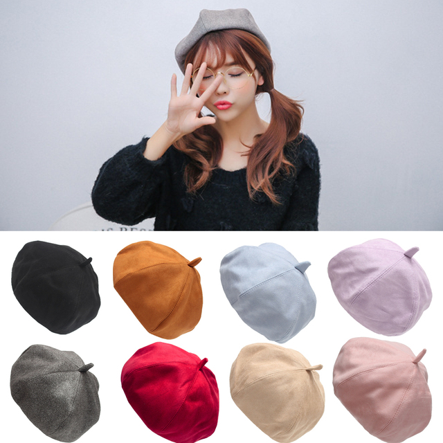 New Fashion Bere Women Classic Wool Blend Warm French Fluffy Beanie Beret  Hat Cap Beret Femme Girlfriend Fifts b384c085f38e