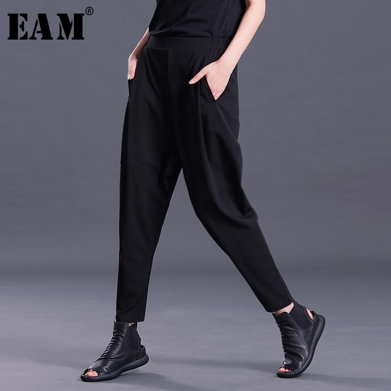 [EAM] 2019 New Spring Fashion Tide Black Pleated Pockets High Waist Elastic Simple All-match Woman Harem Pants SA157