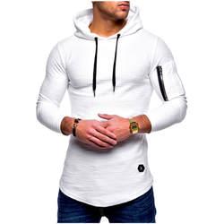 Для мужчин осень и зима сплошной Цвет шею капюшон с длинным рукавом рука молния шить длинные толстовки D306