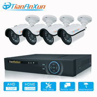 Tiananxun Video Surveillance Security Camera System 8CH CCTV Kit AHD Cameras DVR Set 720P Home Weatherproof Night Vision