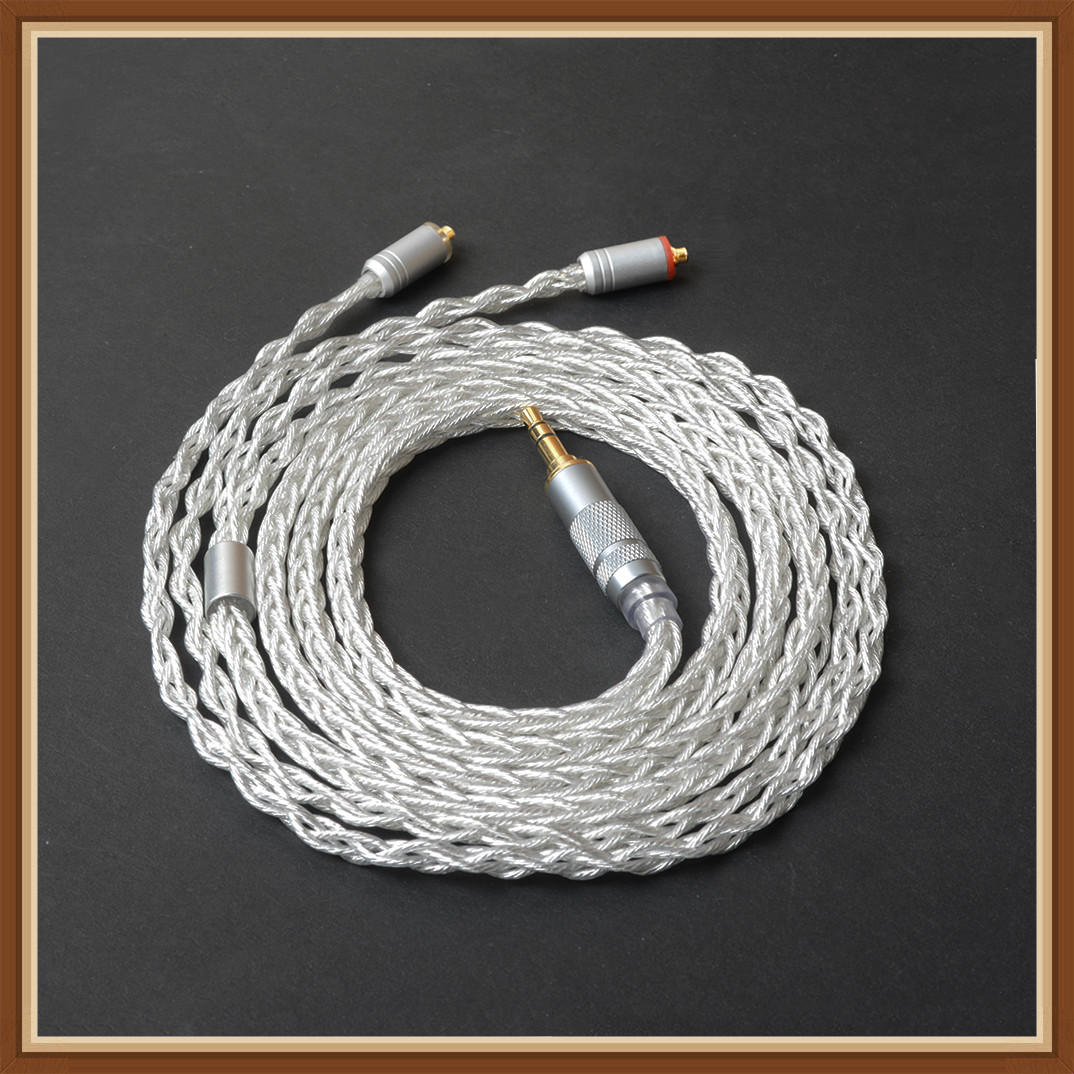 Okcsc 576 Core Replacement Earphone Cable Mmcx Connector Ofc Single Crystal Copper Silver Plated For Se215 /Se535 Sony Xba -Z5