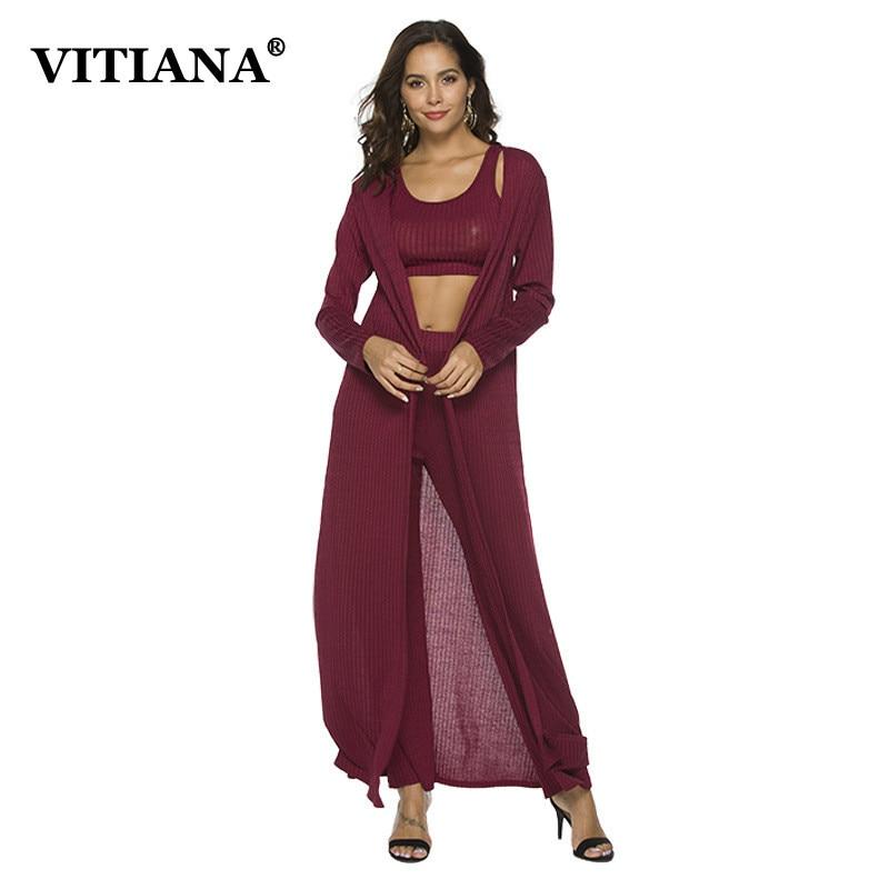 VITIANA Women Three Pieces Long Sets Female 2019 Maxi Long Trench Cardigan Halter Bra Tops Full Length Pants Long Trousers