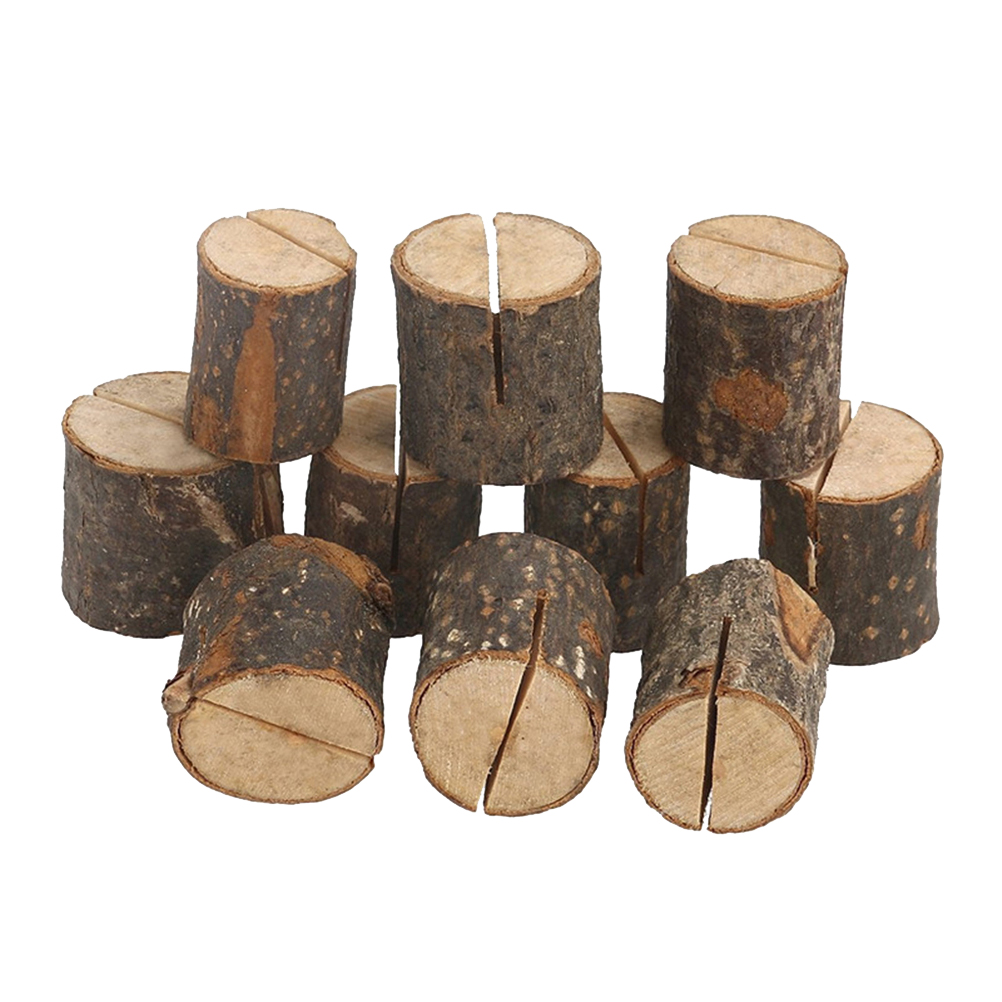 20pcs Wood Base Clip Holder DIY Table Name Number Card Holder Picture Memo Note Photo Message Clip for Wedding Party