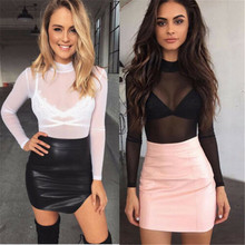 Fashion Sexy Womens Ladies T-Shirts Long Sleeve See-Through Top Clubwear Tulle M