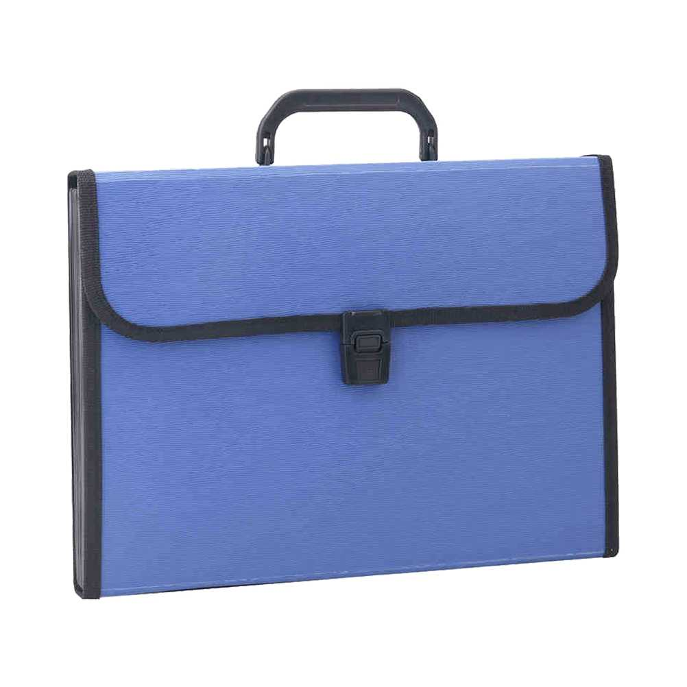 1 Pc Organ Bag Large Capacity 13 Pockets Portable A4 Paper Receipt Bag Data Kit Briefcase Folder (Blue)