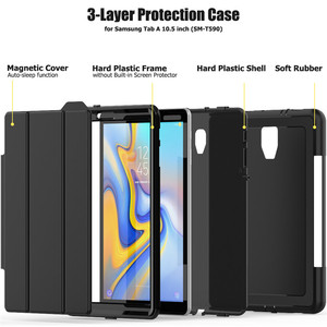 Image 5 - Case For Samsung Galaxy Tab A A2 2018 10.5 inch T590 T595 T597 SM T590 Smart Cover Funda Tablet Hard Skin Stand Shell +Film+Pen