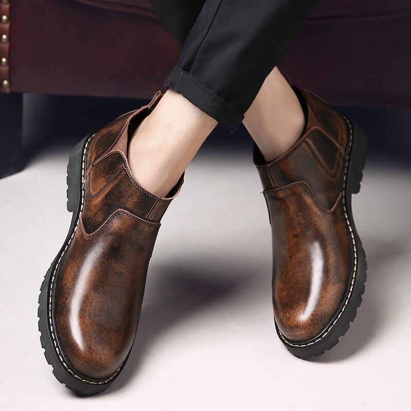 Pie gris Dedo Botas Redondo Casuales Libre De Encaje Ocio Negro Martin Zapatos Hombres Al Moda Sólidos La marrón Del Los Invierno Trabajo Oscuro Tobillo Aire Motocicleta YzqzvFSw