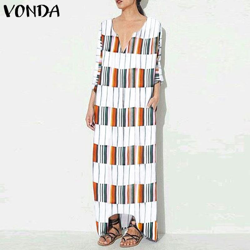 2019 VONDA женские пляжные длинное летнее платье в полоску клетчатое повседневное семь рукав сексуальный v-образный вырез в Пол Длина Vestido Plus S-5XL