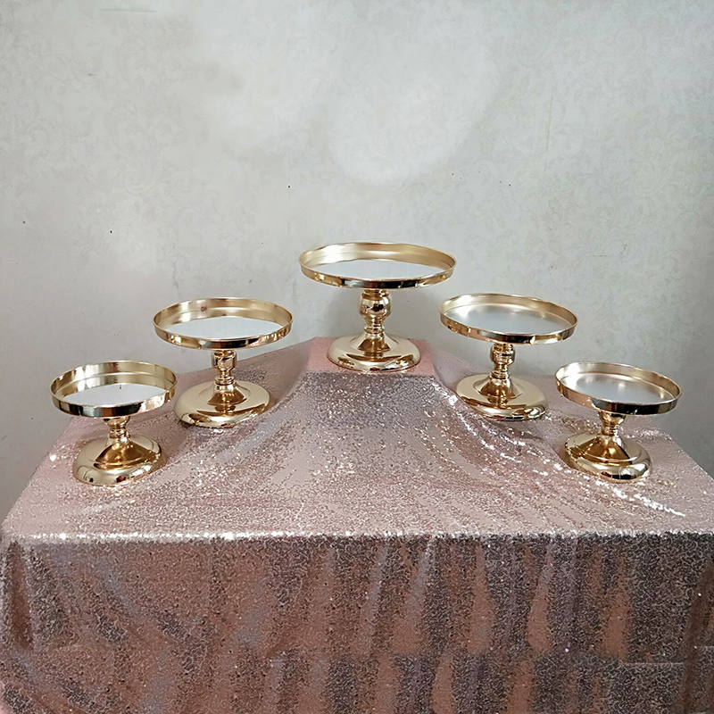 Gold Mirror Cake Stand Electroplating Metal Cupcake Stand Grand Design Baking Love Wedding Party Dessert Table