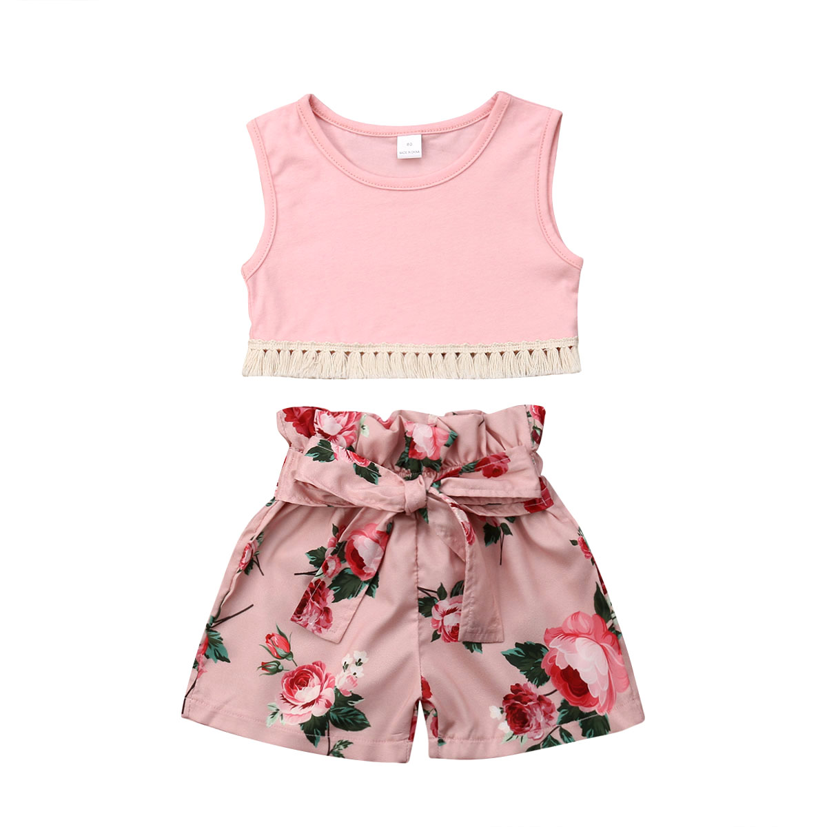 Toddler Baby Girls Shorts Set Sleeveless Shirts Top and Floral Shorts 2Pcs Summer Clothes Outfits
