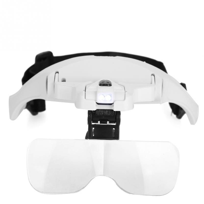 New Magnifier With 5 Lens LED Light  Eyeglass-Type  Watch Repairing Jewelry Checking Magnifier Makeup kits Tool