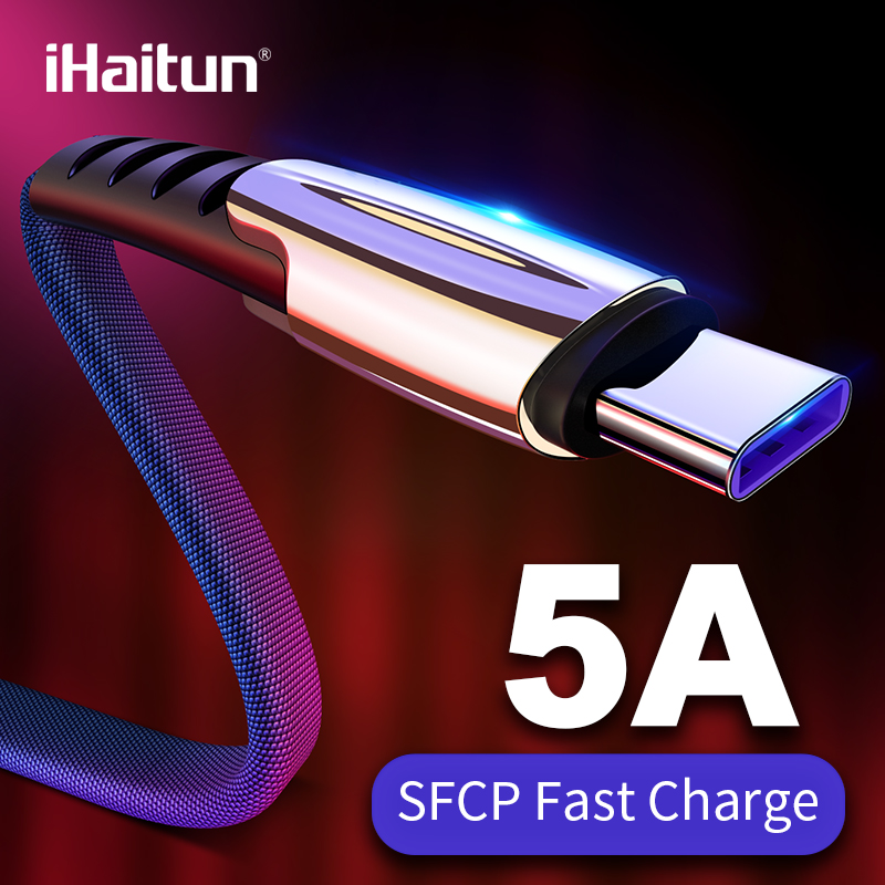 iHaitun 5A USB Type C Cable For Huawei P20 Lite Honor 10 9 Pro 3.1 Fast Charging Data Cord Phone Charger Samsung S9 Redmi Note 7(China)