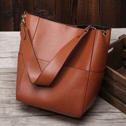 جديد حقيبة كبيرة مفتوحة من أعلى للنساء حقيقية جلد طبيعي دلو حقائب اليد الإناث الفاخرة الماركات الشهيرة السيدات الكتف حقيبة البني مصمم