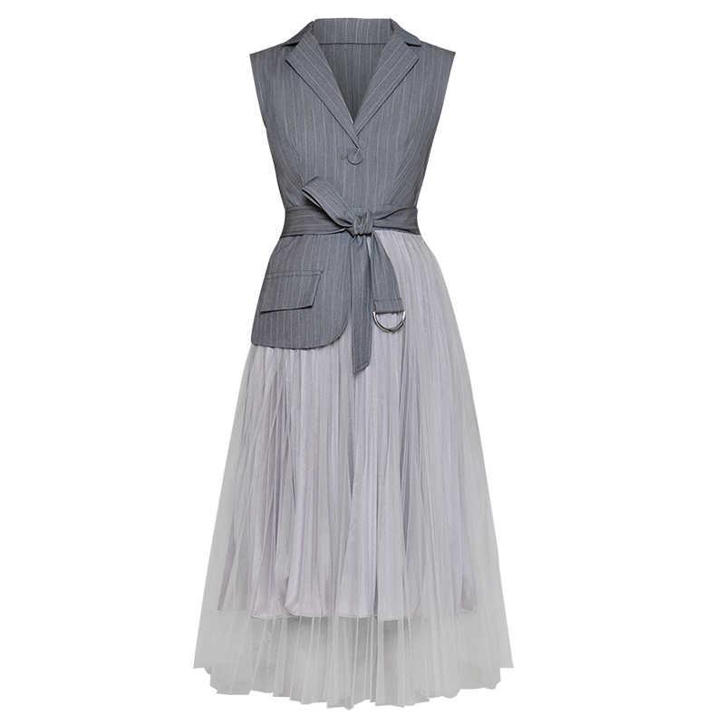 [EAM] 2019 Primavera Mulher Cinza Sem Mangas de Cor Único Botão Turn-down Collar Asjustable Cintura Emendados Vestido de Malha LD627
