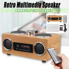 Retro Vintage Radio Super bas Radio FM bambusowy głośnik multimedialny klasyczny odbiornik USB z pilotem odtwarzacza MP3