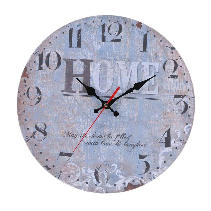 30Cm Wooden Round Wall Clock Hanging Vintage Mute 3D Mute Clock Wall Clock Retro Look Design Craft Home Office Decor