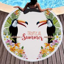 Printed Large Leaves Flower Bird Beach Towel Round Microfiber Beach Towels Roundie Adults Serviette De Plage Toalla Playa leaves flower pattern round beach throw