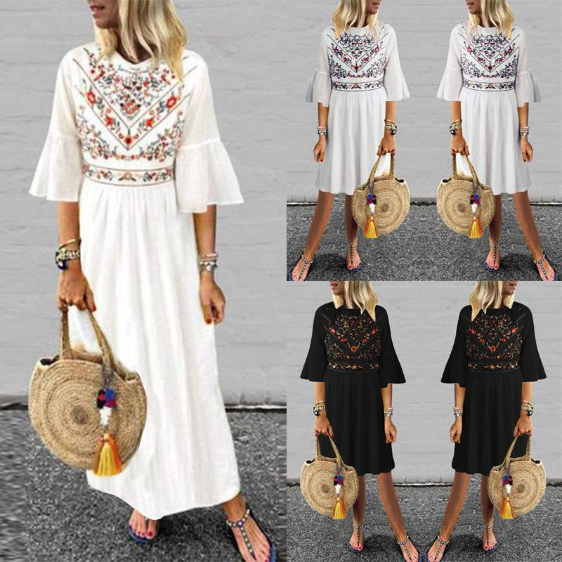 Dress for women 2019 ZANZEA Summer Sundress Long Maxi Vestidos Vintage Printed Casual Robe Femme Beach Dresses Ruffles Vestido in Dresses from Women 39 s Clothing