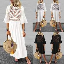 Dress for women 2019 ZANZEA Summer Sundress Long Maxi Vestidos Vintage Printed Casual Robe Femme Beach Dresses Ruffles Vestido