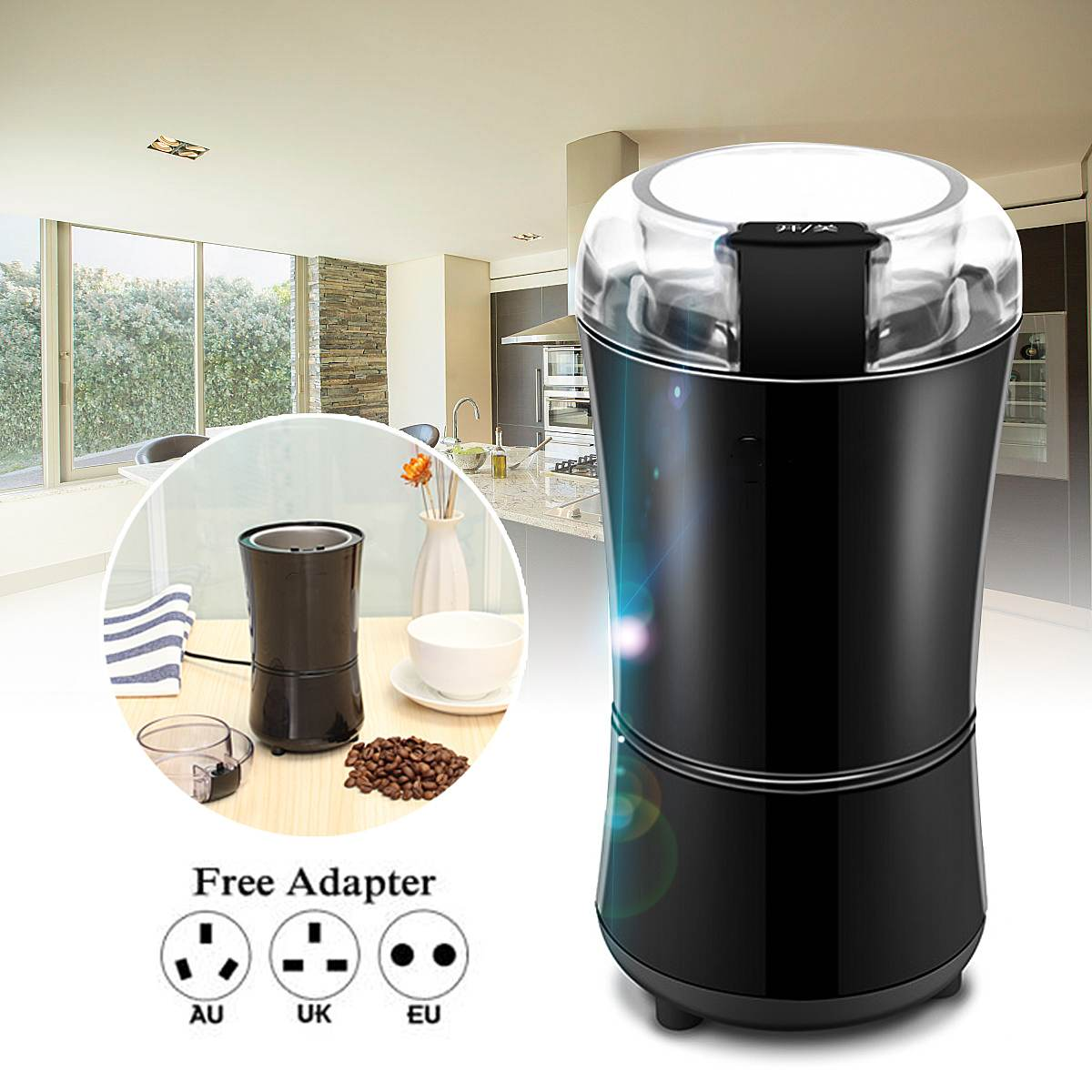 Portable Mini Electric Coffee Grinder Household Kitchen Salt Pepper Grinder Spice Nuts Seeds Coffee Bean Grinding Machine