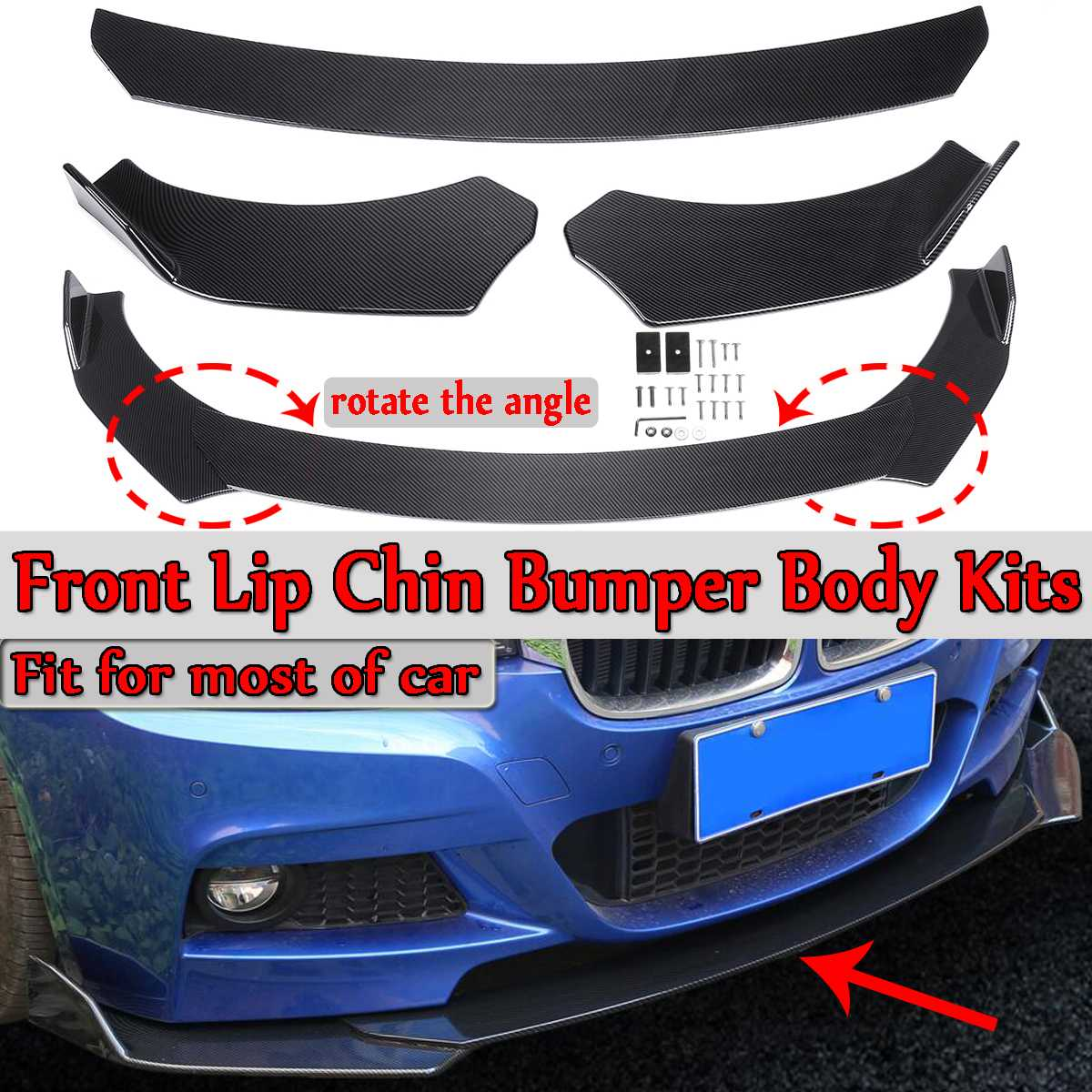 Universal 3Pieces Car Front Lip Chin Bumper Body Kits Carbon Fiber Look/ Black Rotate The Angle New For Honda For Audi For Benz