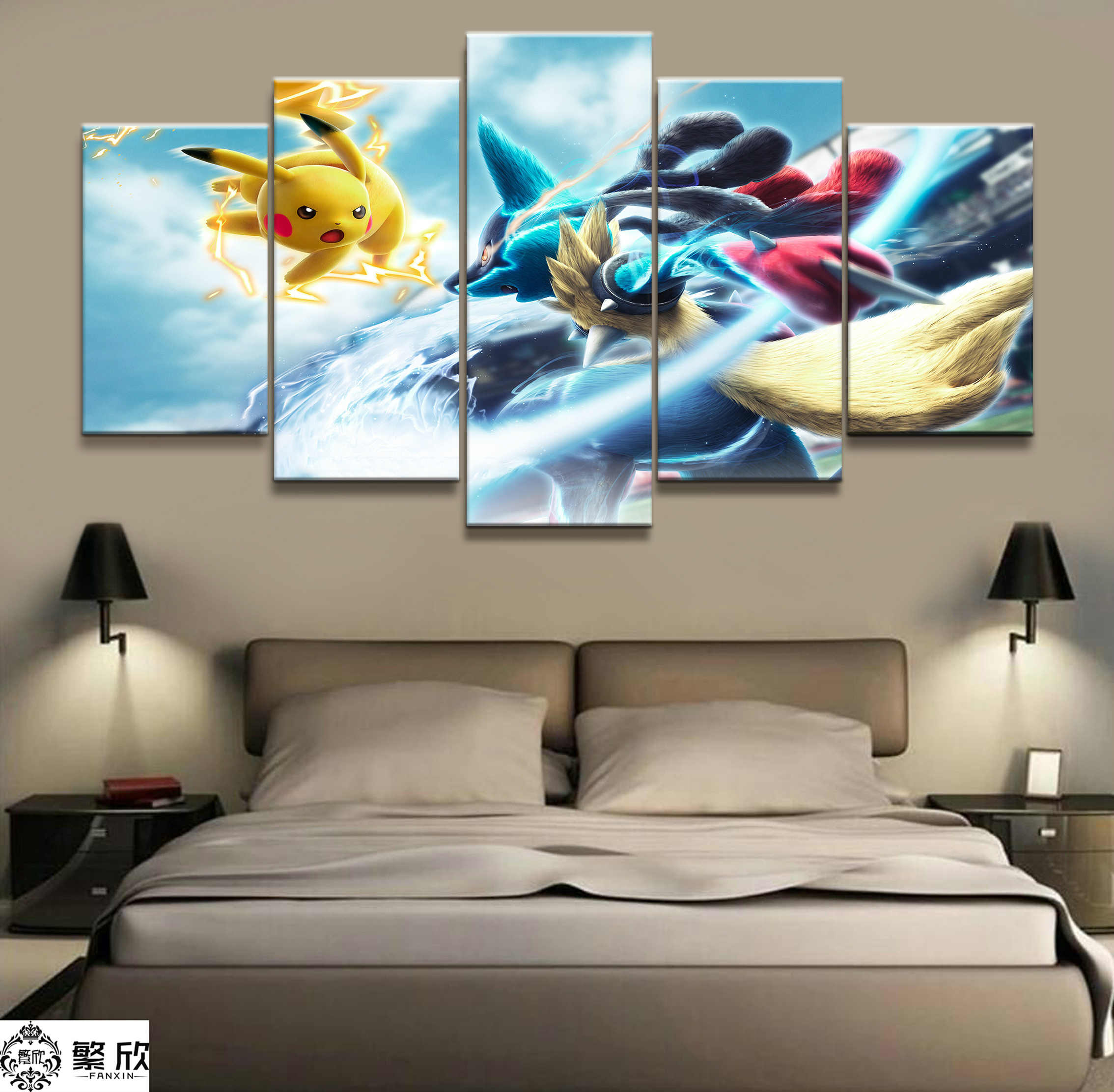 36ee600fe Home Decor Painting Print 5 Piece Best Stylish Classic Cartoon Pokemon Game  Poster Oil Picture Wall