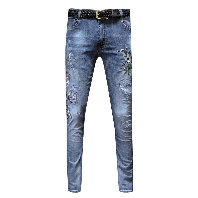 2019 Sommer Neue Hosen Männer Koreanische Version Der Trend Der Selbst-anbau Stretch Jeans Loch Patch Kleine Füße Lange Hosen