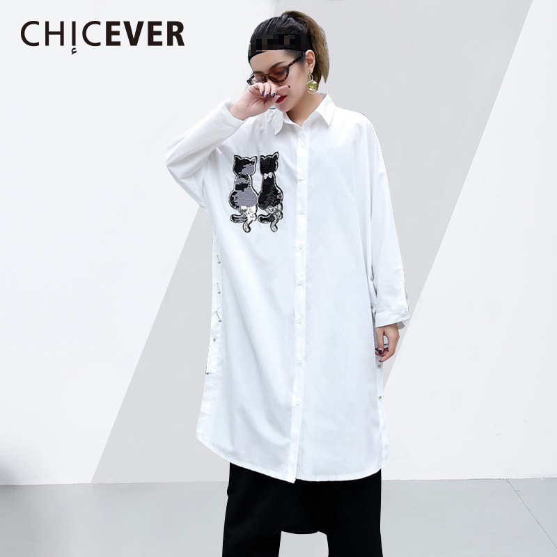 CHICEVER Cat Sequined Feminine Blouse Lapel Batwing Sleeve Loose Big Size Long Women's Shirt Top Side Split Fashion Clothing New