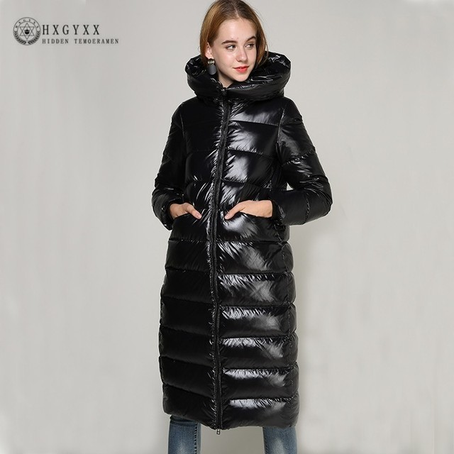 0203844eaeec2 2019 90% Goose Feather Coat Long Black Shiny Thick Warm Loose Down Parka  White Duck Puffer Jacket Plus Size Outerwear Okd673