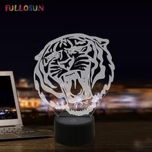 3D Tiger Illusion Night Light 7 Colors Bedside Lamp LED Decoration Nightlights for Sleep Bedroom