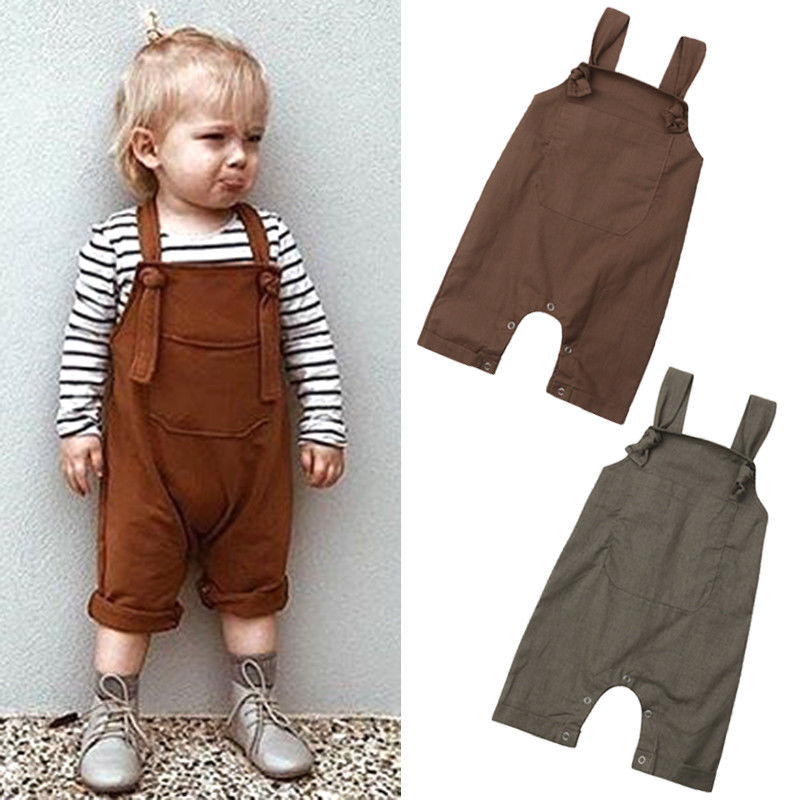Baby Boys   Rompers   Girls Spring   Rompers   Toddler Cute Solid Overalls Kids Lovely Brown Green Suspender Pants Overalls