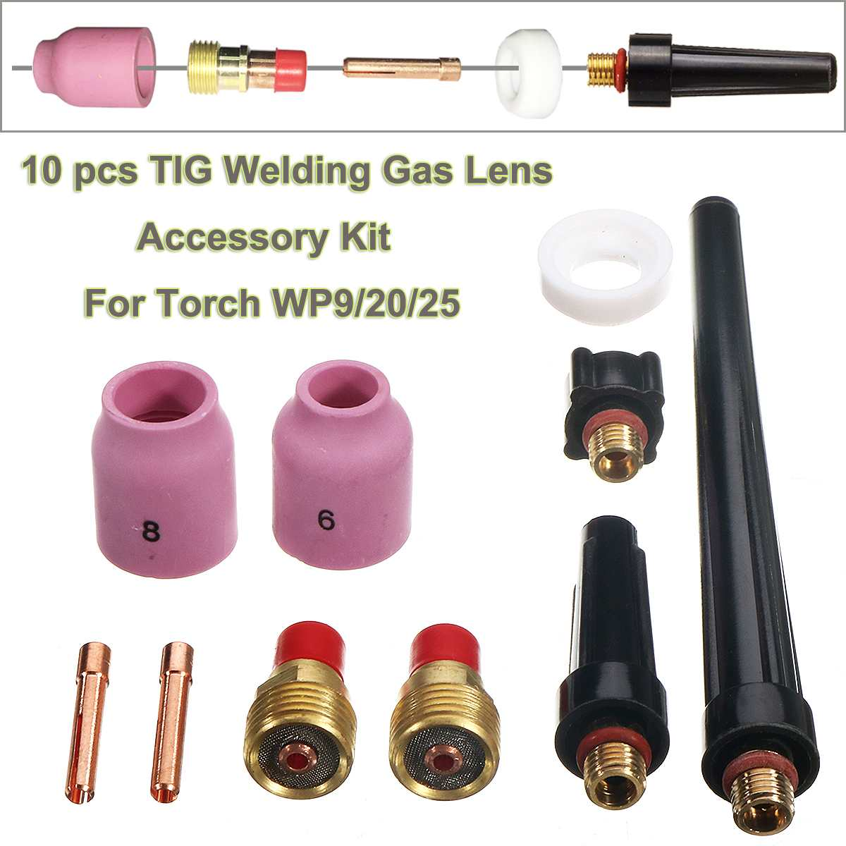 10pcs TIG Welding Stubby Collect Gas Lens Accessory Kit 0.040