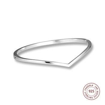 7433de1ccb25 CKK brillante deseo brazalete de plata esterlina 925 pulseras y brazaletes  de plata para las mujeres joyería Original Berloque