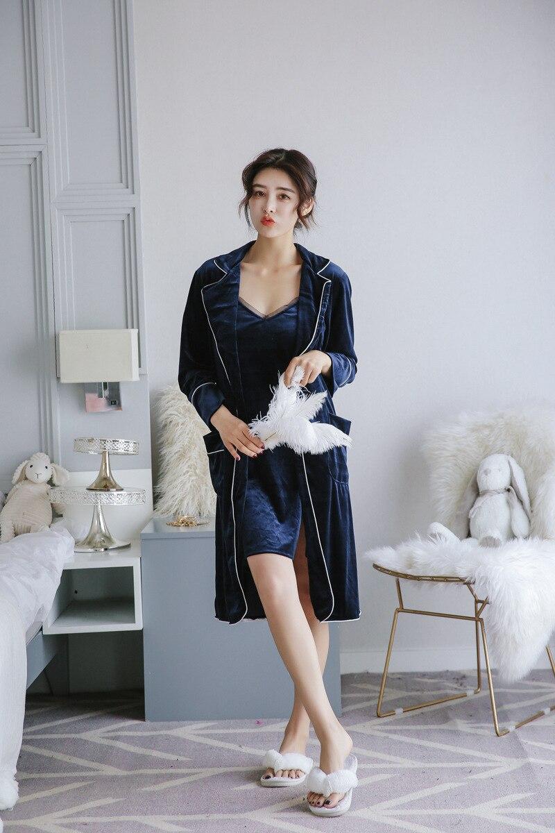 Sexy dentelle velours robe & robe ensemble livraison gratuite deux pièces bretelle vêtements de nuit + robe de bain demoiselle d'honneur tenues de mariage - 4