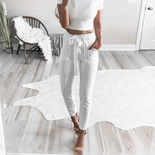 Womens Fashion High Waist White Striped Trousers Ladies Bow Tie Slim Pencil Pants streetwear  2019 front tie striped overlap pants
