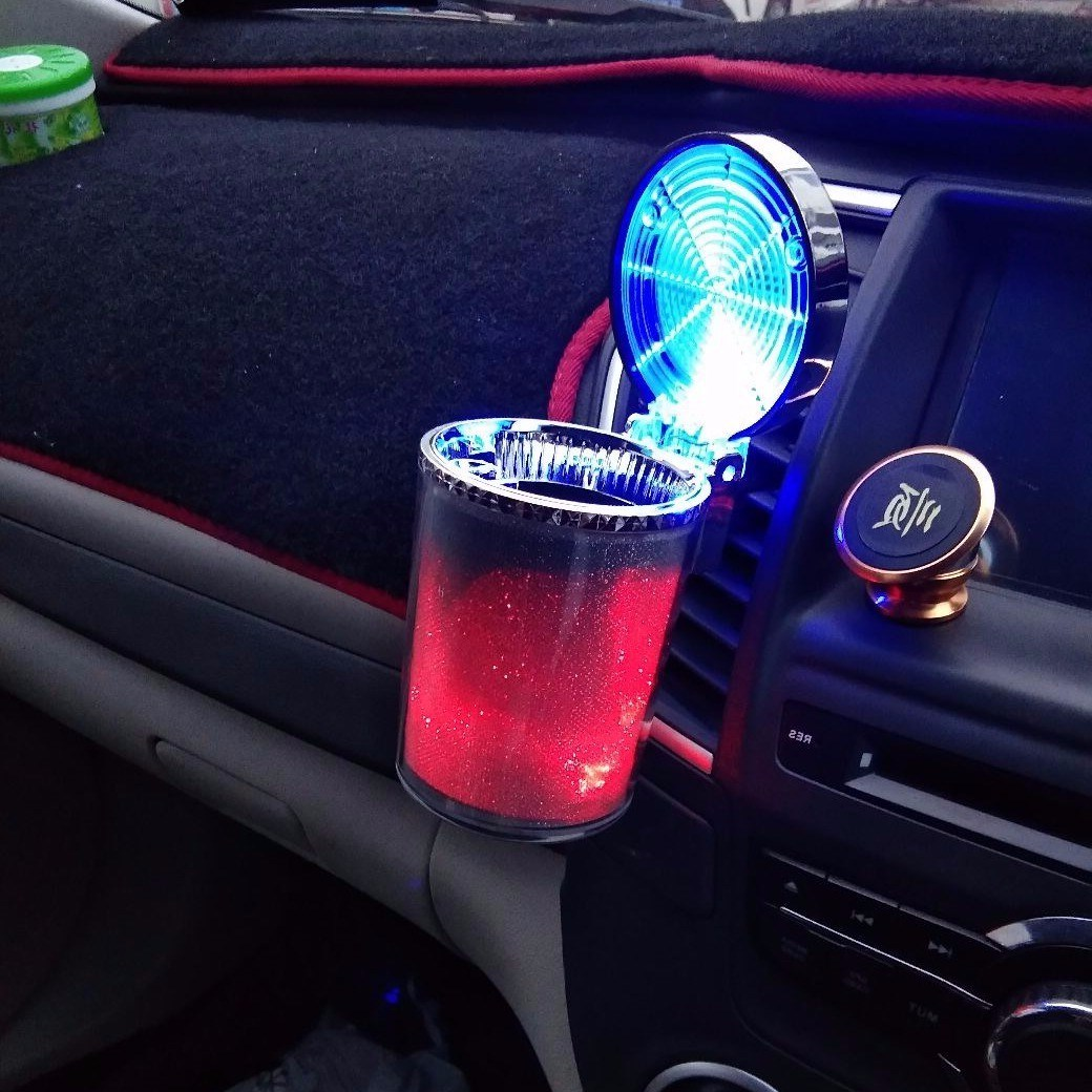Car Ashtray With LED Light Cigarette Cigar Ash Tray Container Smoke Ash Cylinder Smoke Cup Holder Storage Cup Auto Accessories