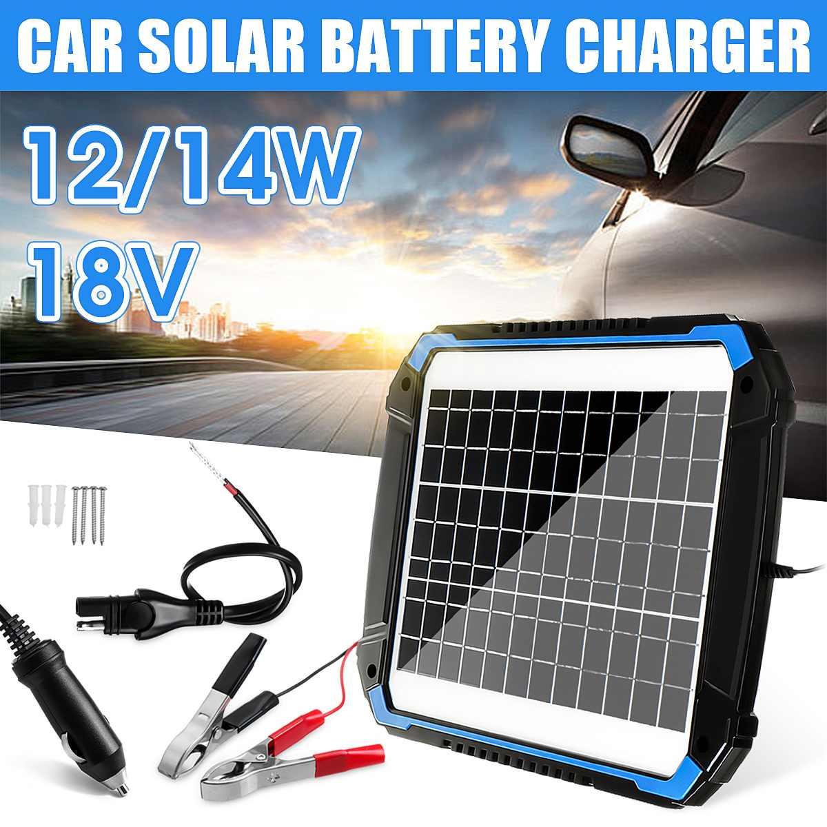 12/14 W panneau solaire Trickle chargeur de batterie mainteneur pour voiture véhicule charge 3m-panneau longueur de câble multifonction Protection