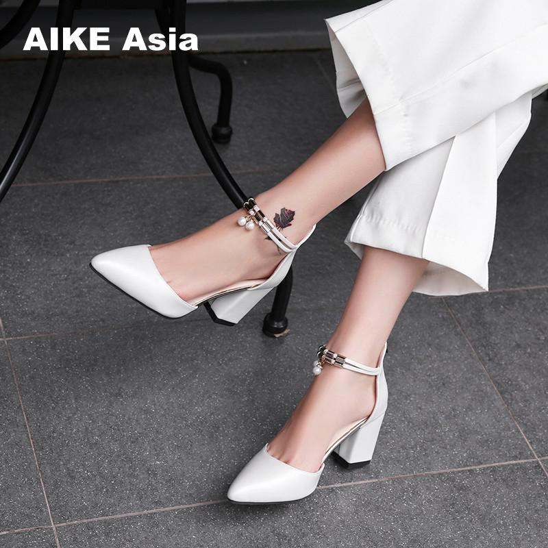 HOT Dress Shoes High Heels Boat Shoes Wedding Shoes tenis feminino  Summer Women Shoes Pointed Toe Pumps Side with Pearl 7.5CM(China)