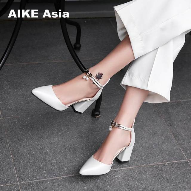 2019 HOT Women Shoes Pointed Toe Pumps Patent Leather Dress  High Heels Boat Shoes Wedding Shoes Zapatos Mujer Blue White 22