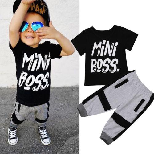 Casual Peuter Kids Jongens Zomer T-shirt Tops Broek 2 Stuks Outfits Set Kleding