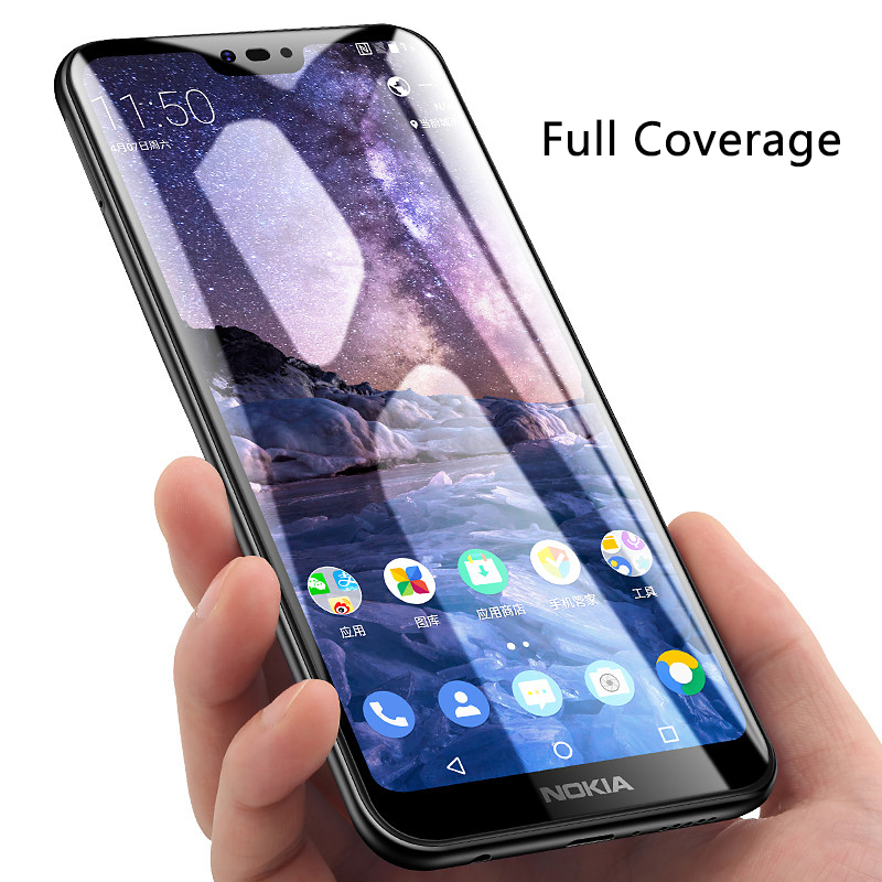 9D Tempered Glass For Nokia 6.1 Plus Screen Protector Case For Nokia 5.1 6.1 Plus 5 6 7 8 X5 X6 Full Cove Protective Glass Film