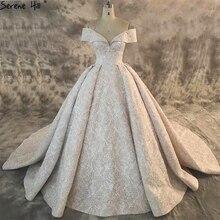 두바이 새로운 합성 레이스 하이 엔드 웨딩 드레스 2020 오프 어깨 섹시 럭셔리 스파클 신부 가운 실제 그림 ha2163