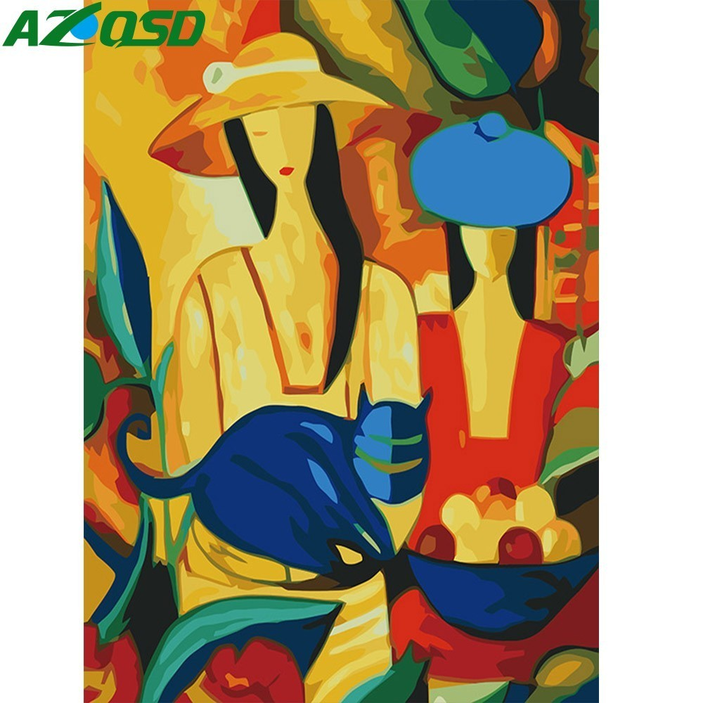 AZQSD DIY Abstract Oil Painting Woman Painting By Numbers Figure Home Decor Paint Canvas Picture Hand Painted Modern K118