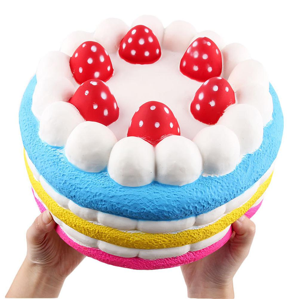 25CM Slow Rising PU Strawberry Cake Shape Stress Reliver Kids Squishy Toy